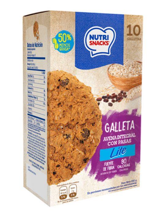 Galleta avena integral con pasas lite Nutrisnacks, fuente de fibra, 90 calorías, 50% menos grasa