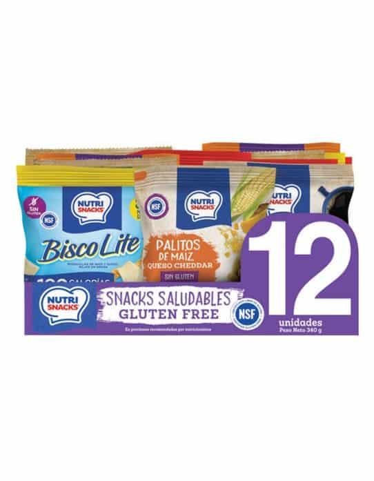 12 pack snacks saludables certificados libres de gluten o gluten free