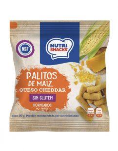 Palitos de maíz y queso cheddar Nutrisnacks, certificadas libres de gluten