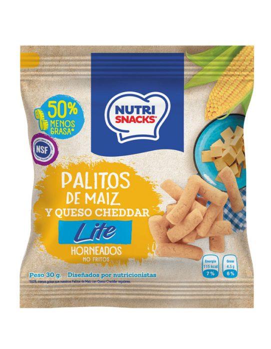 Palitos de maíz y queso cheddar lite Nutrisnacks, certificadas libres de gluten, 50% menos grasa