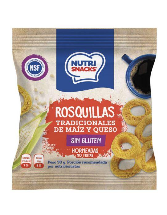 Rosquillas tradicional de maíz y queso Nutrisnacks, certificadas libres de gluten