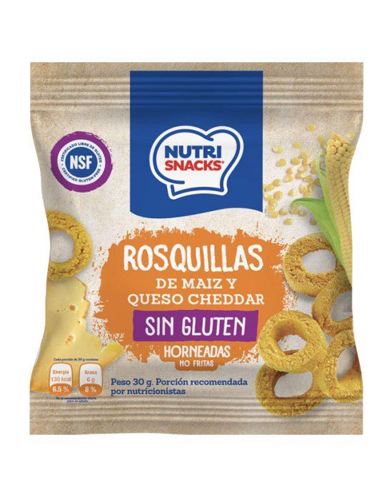 Rosquillas de maíz y queso cheddar Nutrisnacks, certificadas libres de gluten