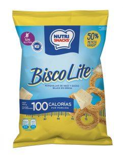 empaque 100g de biscolite Nutrisnacks rosquillas de maíz y queso bajas en grasa y certificadas libres de gluten