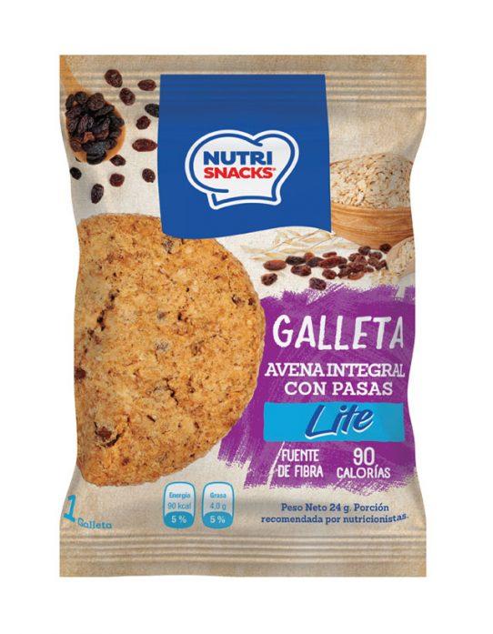 Galleta avena integral con pasas lite Nutrisnacks, fuente de fibra, 90 calorías