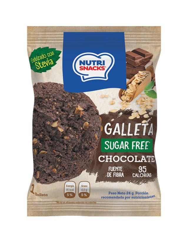 Galletas Nutrisnacks de Chocolate sin azúcar agregado endulzado con stevia, fuente de fibra y con solo 95 calorías