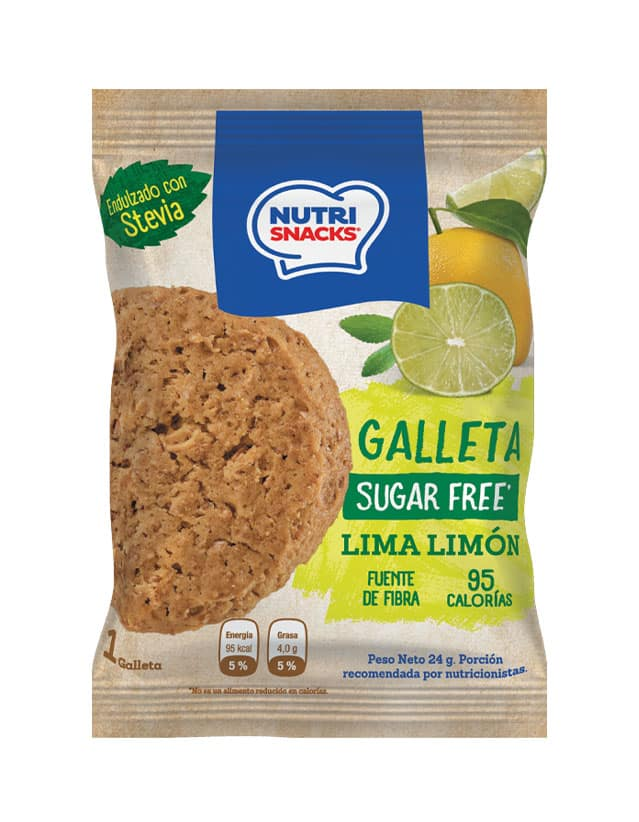 Galletas Nutrisnacks de Lima Limón sin azúcar agregado endulzado con stevia, fuente de fibra y con solo 95 calorías