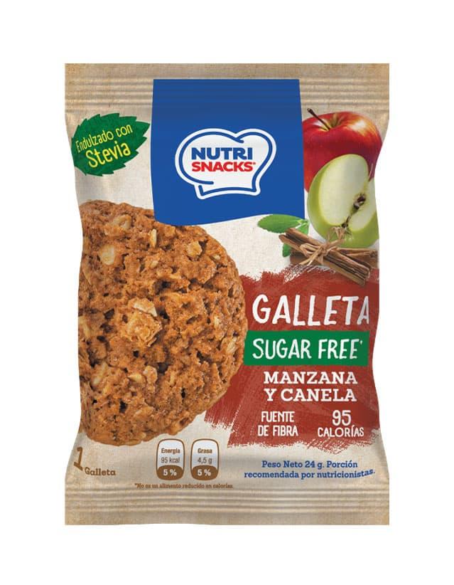 Galletas Nutrisnacks de Manzana y canela sin azúcar agregado endulzado con stevia, fuente de fibra y con solo 95 calorías