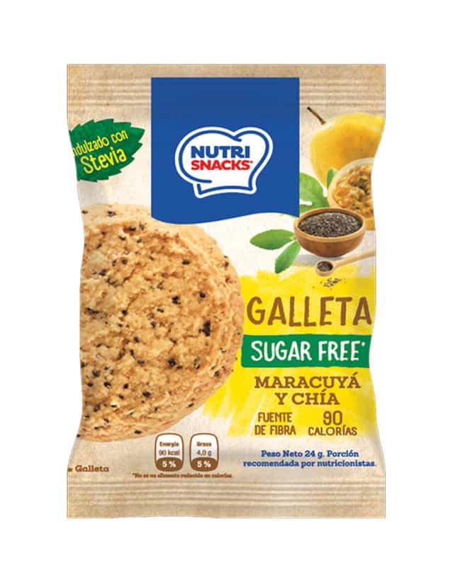 Galletas Nutrisnacks de Maracuyá y chía sin azúcar agregado, fuente de fibra y con solo 90 calorías