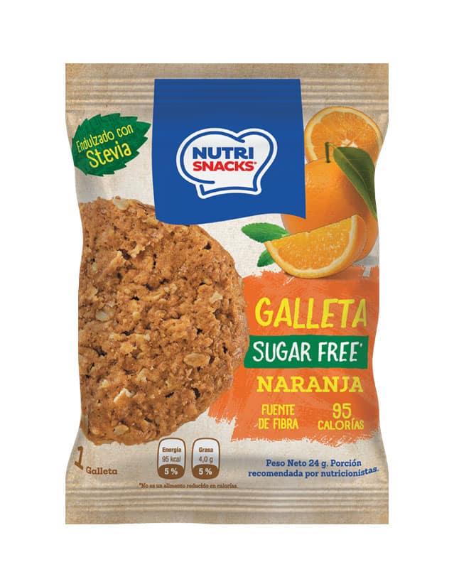 Galletas Nutrisnacks de Naranja sin azúcar agregado endulzado con stevia, fuente de fibra y con solo 95 calorías