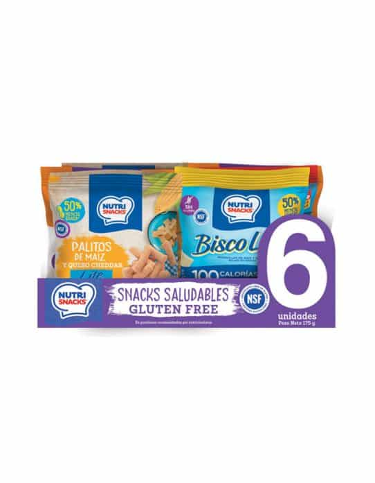 6 pack snacks saludables certificados libres de gluten o gluten free