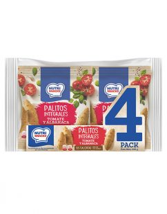 4 pack Palitos integrales con tomate y albahaca Nutrisnacks, con 95 calorías y bajos en sodio