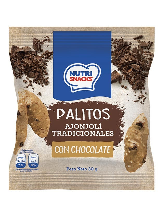 Palitos tradicionales ajonjolí con trocitos de chocolate 30g