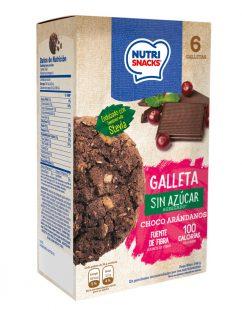 Galletas Nutrisnacks de Choco Arándanos sin azúcar agregado endulzado con stevia, fuente de fibra y con solo 100 calorías