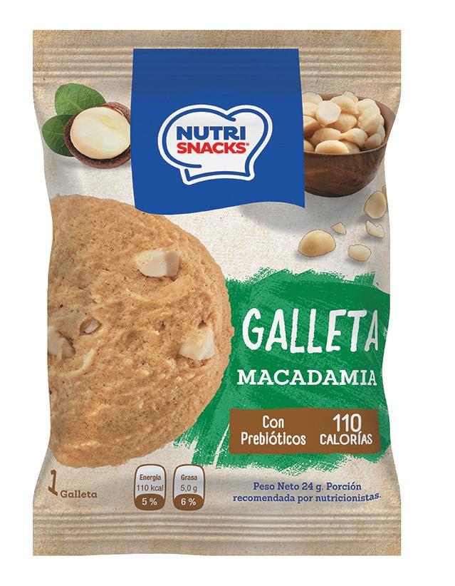 Galletas Nutrisnacks de Macadamia, con prebióticos y con solo 110 calorías