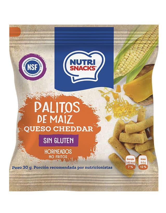 Palitos de maíz y queso cheddar sin gluten