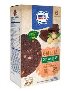 Galletas Nutrisnacks de choco macadamia sin azúcar agregado endulzado con stevia, fuente de fibra y con solo 100 calorías