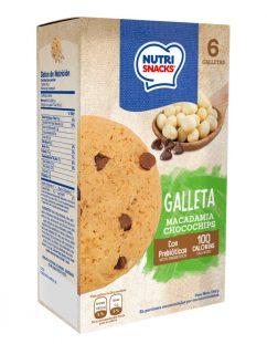 Galletas Nutrisnacks de macadamia chocochips, con prebióticosy 100 calorías
