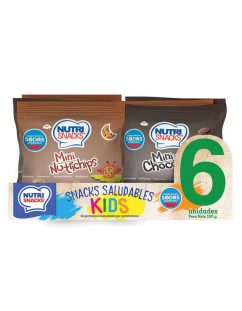 6 pack de snacks saludables, merienda infantil Nutrisnacks: contiene Mini nutrichips y Mini chocolate