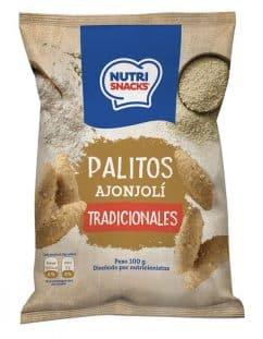 Palitos integrales tradicionales con ajonjolí Nutrisnacks, con 95 calorías y bajos en sodio